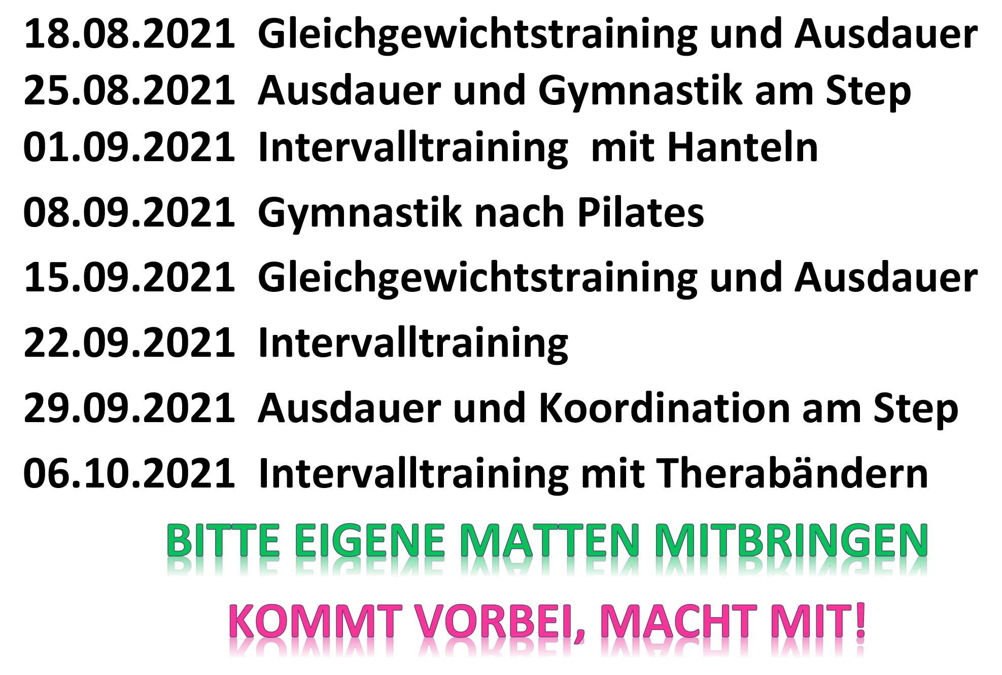 You are currently viewing Fitness-Mix am Mittwoch: Die nächsten Termine im Überblick