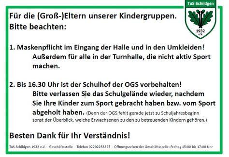 Concordiahalle: Info für die (Groß-)Eltern unserer Kindergruppen