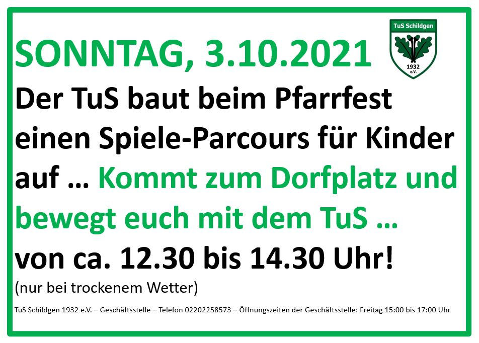 Read more about the article Pfarrfest am 03.10.2021 in Schildgen: Der TuS ist mit dabei